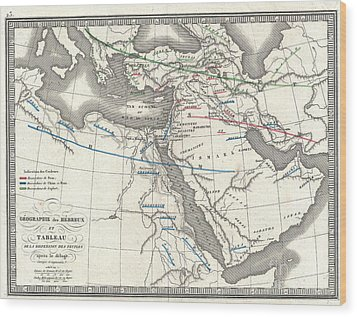 1839 Monin Map Of The Hebrew Peoples Dispersal After The Flood Wood Print by Paul Fearn