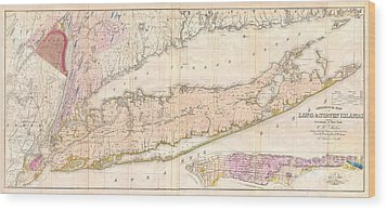 1842 Mather Map Of Long Island New York Wood Print by Paul Fearn