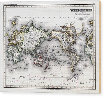 Wood Print featuring the photograph 1850 Antique World Map Welt Karte In Mercators Projektion by Karon Melillo DeVega