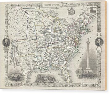 1851 Tallis And Rapkin Map Of The United States Wood Print by Paul Fearn