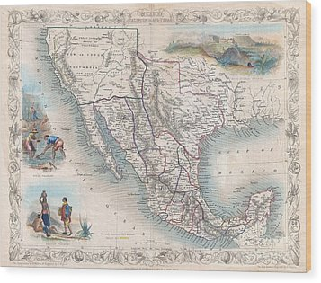 1851 Tallis Map Of Mexico Texas And California  Wood Print by Paul Fearn