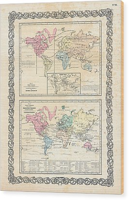 Wood Print featuring the photograph 1855 Antique First Plate Ortelius World Map Animal Kingdom World Commerce And Navigation by Karon Melillo DeVega
