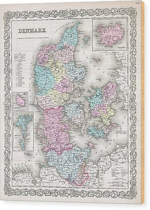 1855 Colton Map Of Denmark Wood Print by Paul Fearn