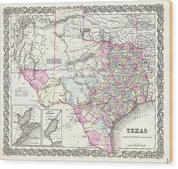 1855 Colton Map Of Texas Wood Print by Paul Fearn