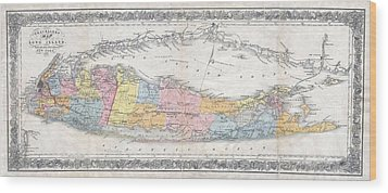 1857 Colton Travellers Map Of Long Island New York Wood Print by Paul Fearn
