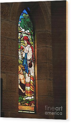 1865 - St. Jude's Church  - Stained Glass Window Wood Print by Kaye Menner