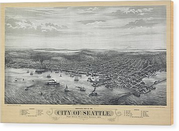 1878 Seattle Washington Map Wood Print by Daniel Hagerman