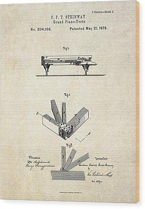 1878 Steinway Grand Piano Forte Patent Art S.2 Wood Print