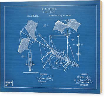 1879 Quinby Aerial Ship Patent - Blueprint Wood Print by Nikki Marie Smith