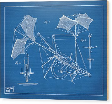 1879 Quinby Aerial Ship Patent Minimal - Blueprint Wood Print by Nikki Marie Smith