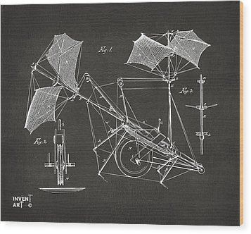1879 Quinby Aerial Ship Patent Minimal - Gray Wood Print by Nikki Marie Smith