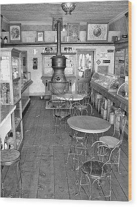 1880 Drug Store Black And White Wood Print