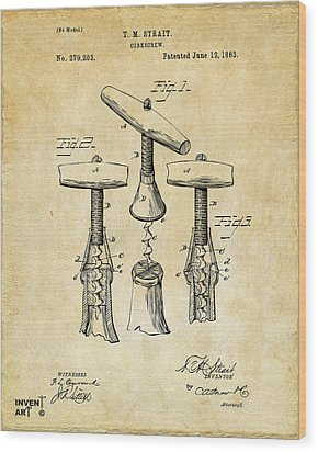 1883 Wine Corckscrew Patent Art - Vintage Black Wood Print by Nikki Marie Smith