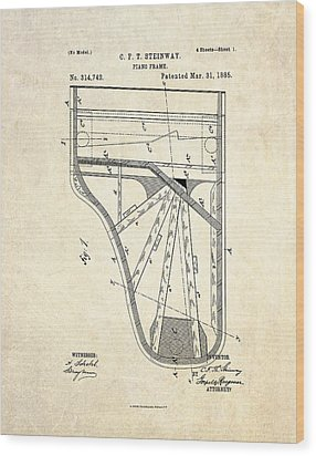 1885 Steinway Piano Frame Patent Art Wood Print