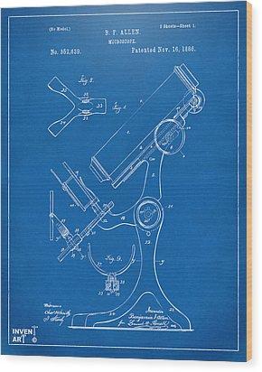 1886 Microscope Patent Artwork - Blueprint Wood Print by Nikki Marie Smith