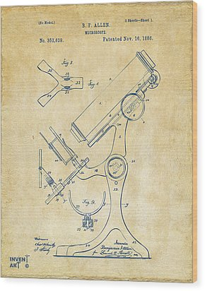 1886 Microscope Patent Artwork - Vintage Wood Print by Nikki Marie Smith