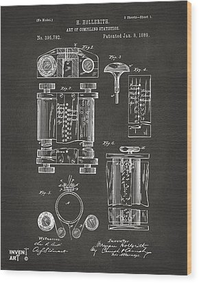 1889 First Computer Patent Gray Wood Print