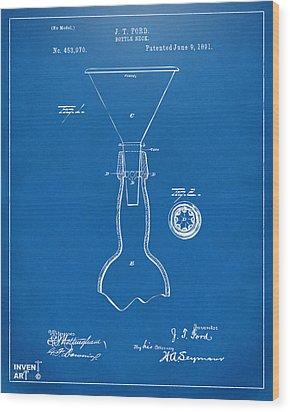 1891 Bottle Neck Patent Artwork Blueprint Wood Print by Nikki Marie Smith