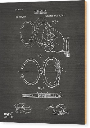 1891 Police Nippers Handcuffs Patent Artwork - Gray Wood Print by Nikki Marie Smith