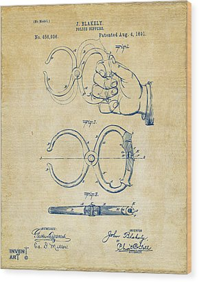 1891 Police Nippers Handcuffs Patent Artwork - Vintage Wood Print by Nikki Marie Smith