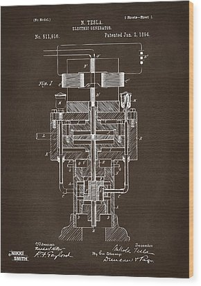 Wood Print featuring the drawing 1894 Tesla Electric Generator Patent Espresso by Nikki Marie Smith