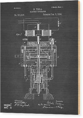 Wood Print featuring the drawing 1894 Tesla Electric Generator Patent Gray by Nikki Marie Smith