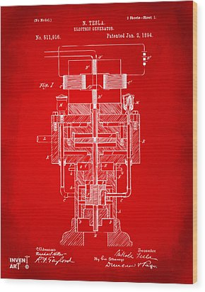 Wood Print featuring the drawing 1894 Tesla Electric Generator Patent Red by Nikki Marie Smith