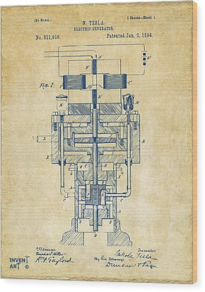 Wood Print featuring the drawing 1894 Tesla Electric Generator Patent Vintage by Nikki Marie Smith