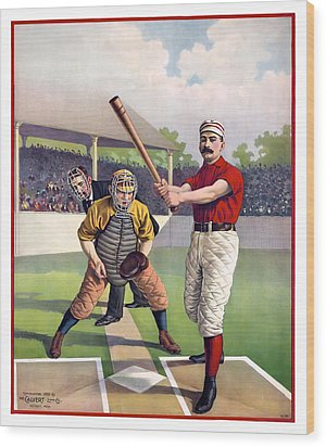 1895 Batter Up At Home Plate Wood Print by Daniel Hagerman
