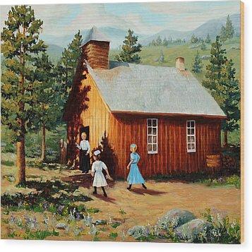 1896 School House Wood Print by Mary Giacomini