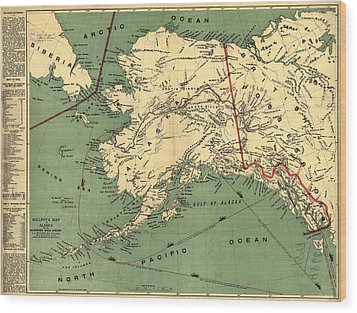 Wood Print featuring the photograph 1897 Map Of Alaska by Charles Beeler