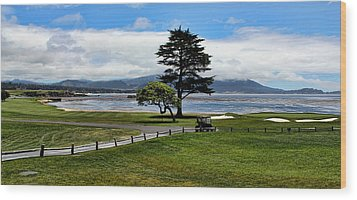 18th At Pebble Beach Panorama Wood Print by Judy Vincent