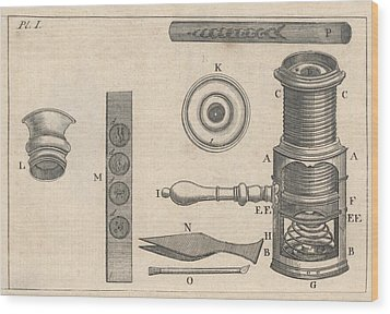 18th Century Microscope, Artwork Wood Print by Science Photo Library