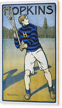 1905 - Johns Hopkins University Lacrosse Poster - Color Wood Print
