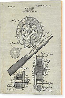 1906 Fishing Reel Patent Drawing Wood Print