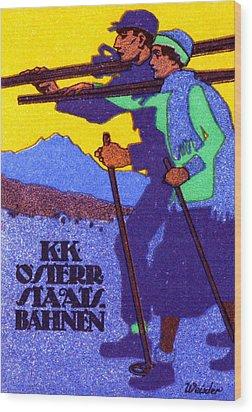 1910 Austrian Ski Poster Wood Print by Historic Image