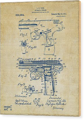 1911 Automatic Firearm Patent Artwork - Vintage Wood Print by Nikki Marie Smith