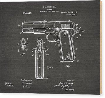 1911 Browning Firearm Patent Artwork - Gray Wood Print