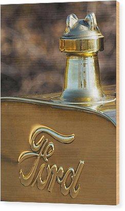 1911 Ford Model T Torpedo 4 Cylinder 25 Hp Hood Ornament  Emblem Wood Print by Jill Reger