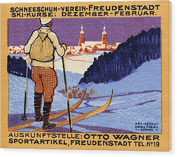 1911 Swiss Ski School Poster Wood Print by Historic Image