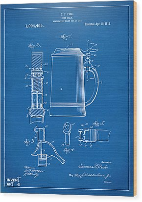 1914 Beer Stein Patent Artwork - Blueprint Wood Print by Nikki Marie Smith