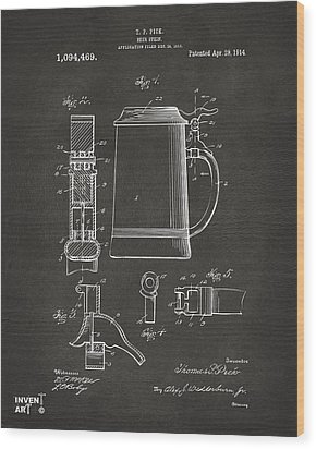 1914 Beer Stein Patent Artwork - Gray Wood Print by Nikki Marie Smith