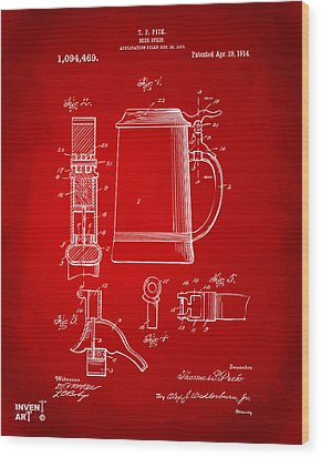 1914 Beer Stein Patent Artwork - Red Wood Print by Nikki Marie Smith