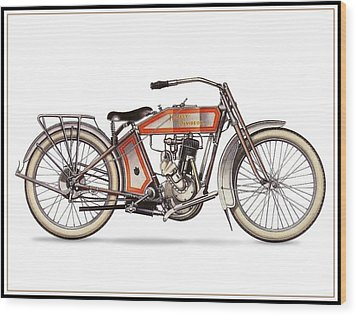 1914 Harley Davidson 35ci Model 10b Wood Print