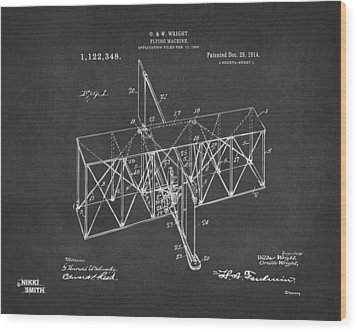 Wood Print featuring the drawing 1914 Wright Brothers Flying Machine Patent Gray by Nikki Marie Smith