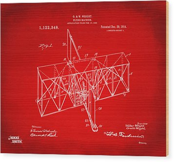 Wood Print featuring the drawing 1914 Wright Brothers Flying Machine Patent Red by Nikki Marie Smith
