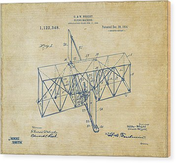 Wood Print featuring the drawing 1914 Wright Brothers Flying Machine Patent Vintage by Nikki Marie Smith