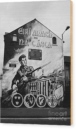 1916 Dublin Easter Rising Commemoration Republican Wall Mural Beechmount Rpg Belfast Wood Print by Joe Fox