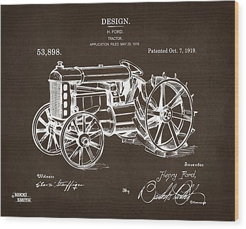 Wood Print featuring the drawing 1919 Henry Ford Tractor Patent Espresso by Nikki Marie Smith