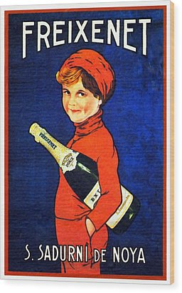 1920 - Freixenet Wines - Advertisement Poster - Color Wood Print by John Madison